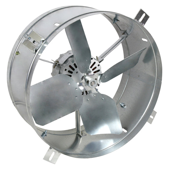 Back view of the gable fan showing the precision balanced fan blades for powerful exhaust performance.