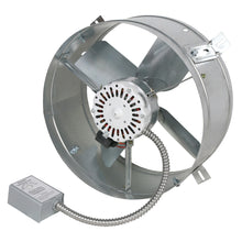 1,600 CFM gable fan showing the adjustable thermostat and steel shroud housing.
