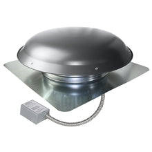 1,400 CFM aluminum roof mount fan in weathered gray finish showing the adjustable thermostat.