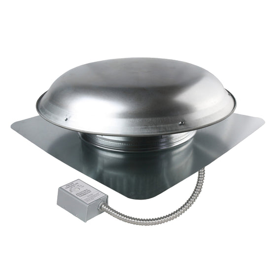 1,400 CFM aluminum roof mount exhaust fan in mill finish showing the adjustable thermostat with conduit.