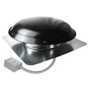 1,400 CFM aluminum roof mount exhaust fan in black finish showing the adjustable thermostat with conduit.