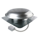 1,400 CFM steel roof mount exhaust fan in mill finish showing the adjustable thermostat with conduit.