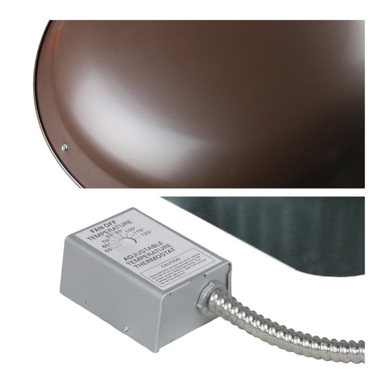 Detailed close-up of steel dome in brown finish and adjustable thermostat.