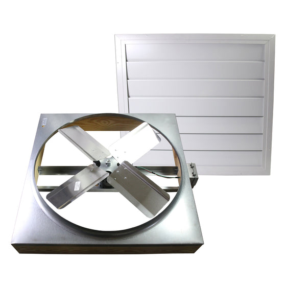 "Front of 30"" direct drive whole house fan with Wi-Fi controller and included shutter."