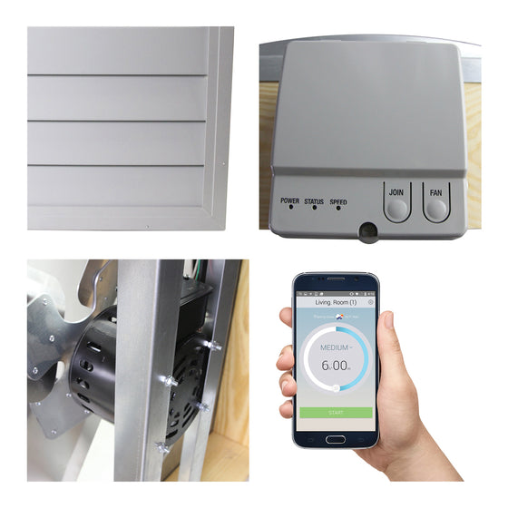 Detailed close-up of the shutter, Wi-Fi hub, motor, and control app on a smart phone for the home ventilation fan.