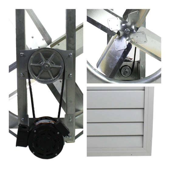 Detailed close-up of motor and pulley system, fan blade assembly, and shutter on the home exhaust fan.