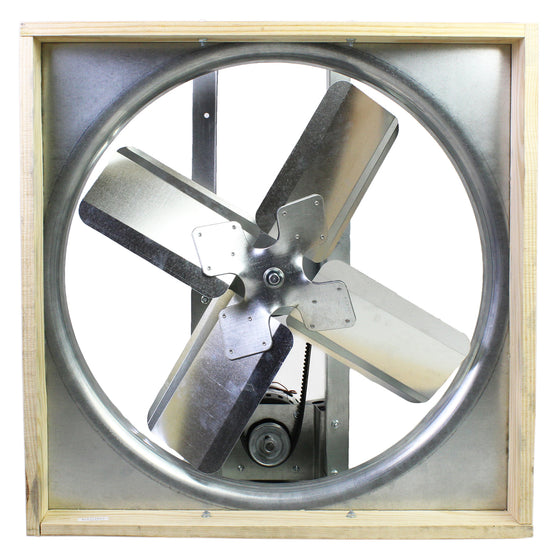 "Underside of the 30"" whole house fan showing the steel and wood construction and high performance fan blade assembly."