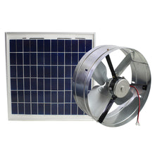 433 CFM gable fan showing the DC motor and included solar panel.
