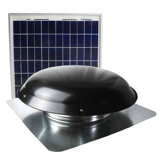 433 CFM solar roof vent in black finish with solar panel.