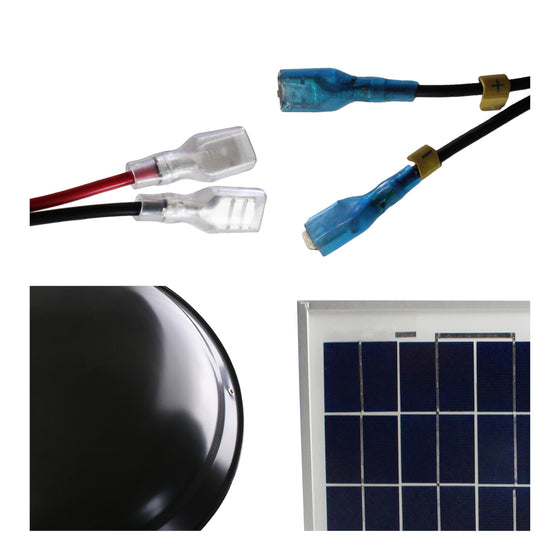 Detailed close-up of quick connect clips, steel dome in black finish and solar panel cells.