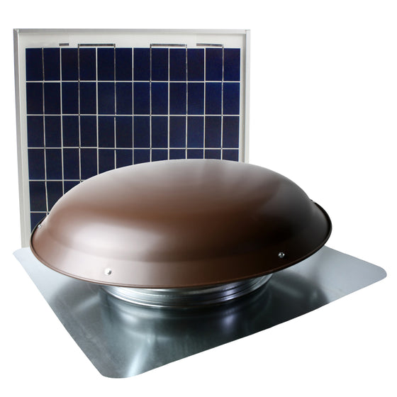 433 CFM solar roof mount fan in brown finish with solar panel.