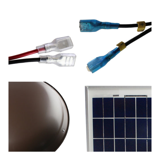 Detailed close-up of quick connect clips, steel dome in brown finish and solar panel cells.