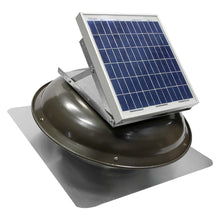 433 CFM solar roof mount fan in weathered gray finish with solar panel mounted on dome.