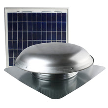 433 CFM solar roof mount fan in mill finish with solar panel.