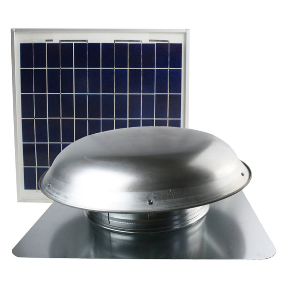 Front view of the CXSOLRF series roof mounted ventilator showing the steel dome and solar panel.