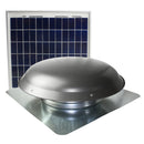 433 CFM solar roof mount fan in weathered gray finish with solar panel.