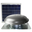 Front view of the CXSOLRF series roof mount solar attic vent showing the steel dome and panel.