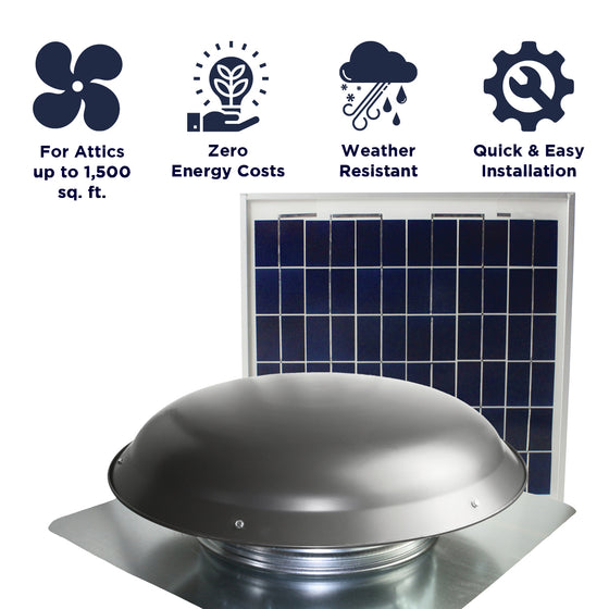 Features of the CXSOLRF series include ventilation coverage up to 1,500 sq. ft., zero energy costs, weather resistant construction, and a quick and easy install.