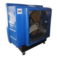36 in. swamp cooler constructed of durable blue polyethylene with safety grille and caster wheels.