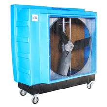 48 in. swamp cooler constructed of durable blue polyethylene with caster wheels for portable use in any room.