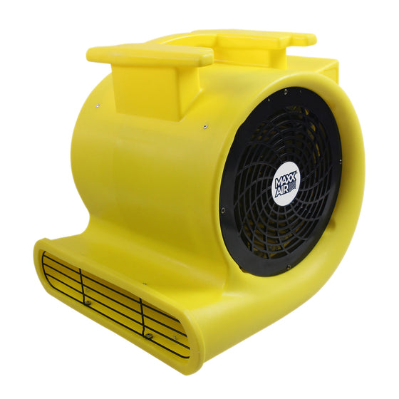 Floor drying fan with high visiblity rotomolded plastic housing in yellow finish and squirrel cage blower.
