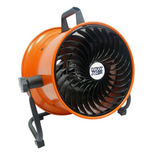 10 in. portable floor fan with deep steel shroud in orange finish for focused airflow.