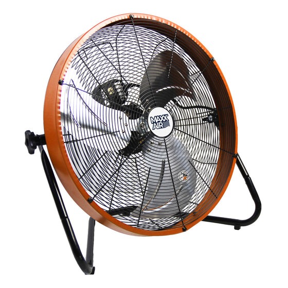 20 in. commercial floor fan with outer metal shroud in orange finish.