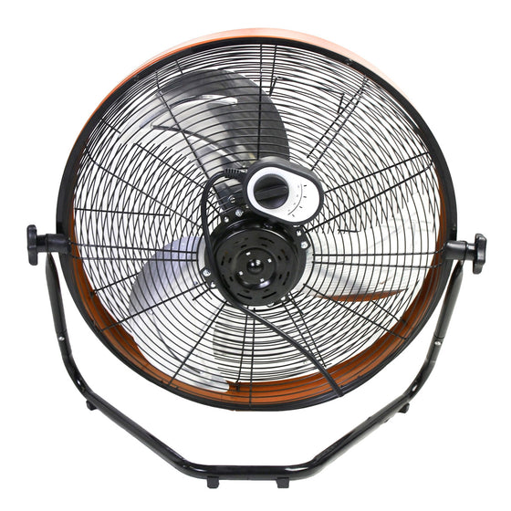Back view of the 20 in. floor fan showing the speed selection switch and power cord location.