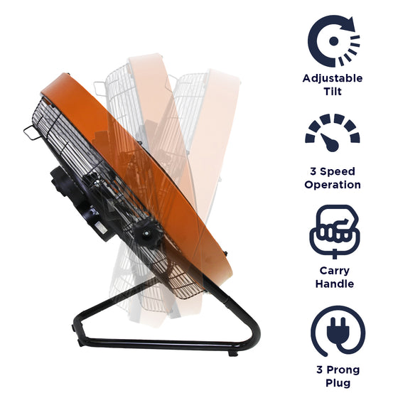 Features of the HVFF 20S fan include adjustable tilt, 3 speed operation, carry handle, and 3 prong electric plug.
