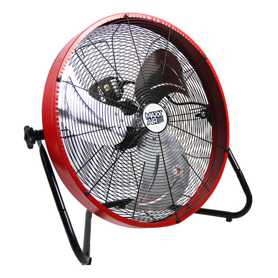 20 in. floor fan with outer metal shroud in red finish.