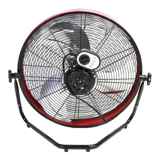 Back view of the 20 in. high velocity floor fan showing the speed selection switch and power cord location.