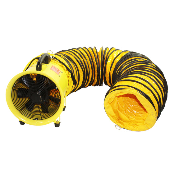 12 in. axial hose fan includes both the fan unit and flexible 20 ft. duct hose with hanger rings in yellow finish for safety.