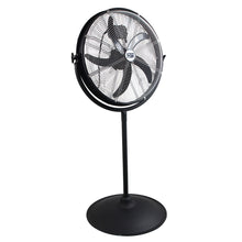20 in. pedestal fan in a rust-resistant powder coated metal in black finish.