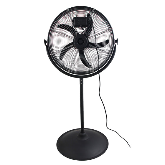 Back view of the 20 in. electric fan showing the motor and wide metal base.