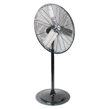 30 in. oscillating pedestal fan in a rust-resistant powder coated black finish with adjustable pole stand.