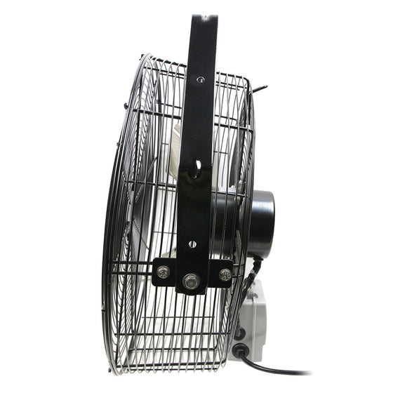 Right side profile view of the tilting wall mount fan.