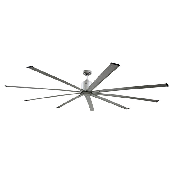 72 in. industrial ceiling fan in metallic brushed nickel finish with large diameter fan blades.