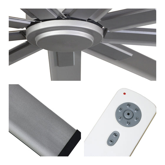 Detailed close-up of fan center, brushed nickel blade finish, and remote control with 6 speeds and reverse selection..