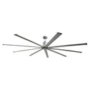 Large diameter 96 in. industrial ceiling fan with metallic brushed nickel finish blades and housing.