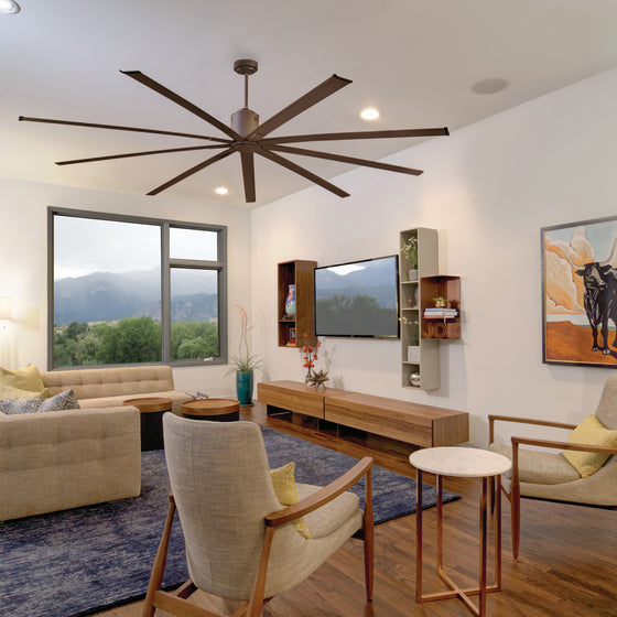 This modern ceiling fan provides powerful air movement while remaining a stylish statement piece in your home.