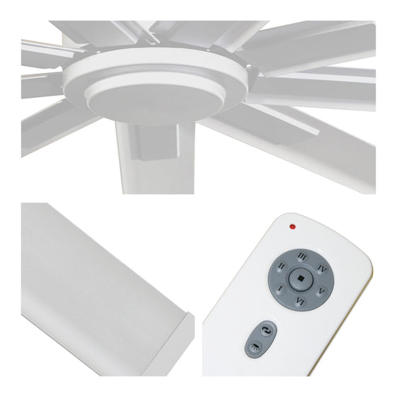Detailed close-up of fan center, white blade finish, and remote control with 6 speeds and reverse function.