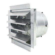 14 in. wall exhaust fan with aluminum louvered opening and steel housing.