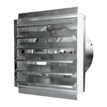 18 in. wall exhaust fan with draft-free aluminum shutter louvers open.