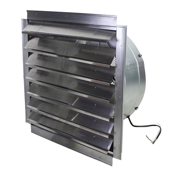 24 in. wall exhaust fan with aluminum louvered opening.