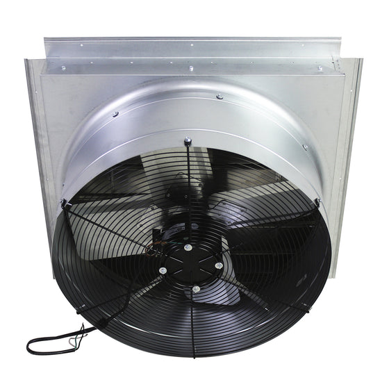 Back view of the exhaust fan showing the safety grille and fan blade for powerful airflow.