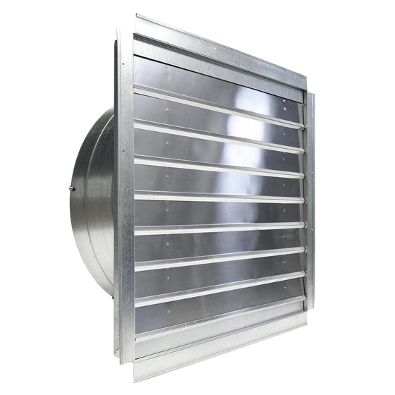 Left side angled view of the greenhouse fan with shutter louvers closed to repel insects when not in use.