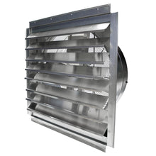 30 in. wall exhaust fan with draft-free aluminum shutters open.