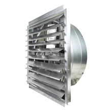 36 in. wall exhaust fan with draft-free aluminum shutter louvers open.