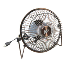 6 in. mini table top desk fan with USB plug in copper finish.