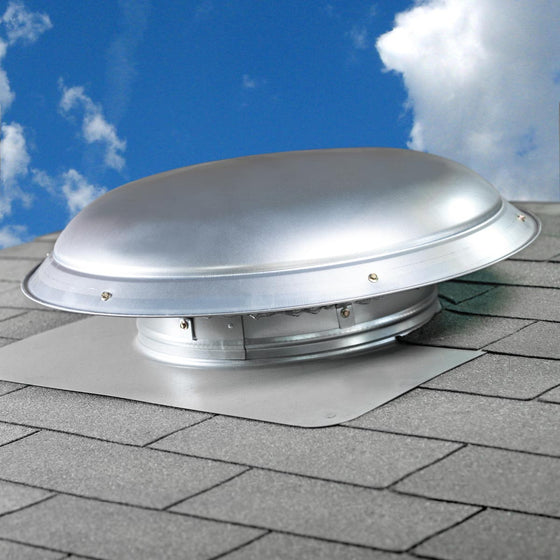 Roof mount power attic ventilator with silver mill dome installed on a rooftop acts as a low profile, attractive ventilation solution to match your shingles.